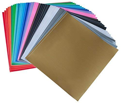 iImagine Vinyl 40-Sheets of Premium Permanent Self Adhesive Vinyl Sheets, 12' x 12', Assorted Colors (Glossy, Matte and Metallic) for Craft Cutters, Cricut, Silhouette Cameo Machines
