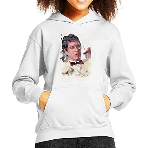 VINTRO Al Pacino Scarface Tuxedo Kinder Kapuzen-Sweatshirt Original Porträt von Sidney Maurer (Arktisches Weiß,M)