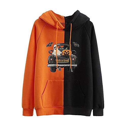 Dasongff Sudadera con capucha para Halloween, bloque de colores, con cordón, para adolescentes, niñas, moda de manga larga, con bolsillo delantero de canguro