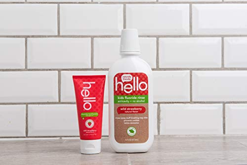 Hello Oral Care Kids natural wild strawberry fluoride toothpaste, 4.2 ounces (2 count) + kids strawberry fluoride mouthwash, 16 ounces