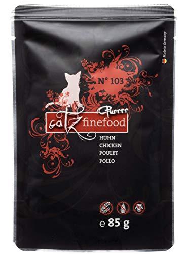 catz finefood Purrrr Huhn Monoprotein Katzenfutter nass N° 103, für ernährungssensible Katzen, 70% Fleischanteil, 8 x 85g Beutel
