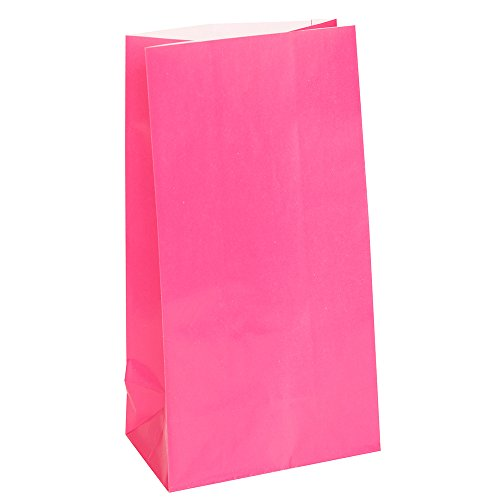 Partytaschen aus Papier - Dunkelrosa - 12er-Pack