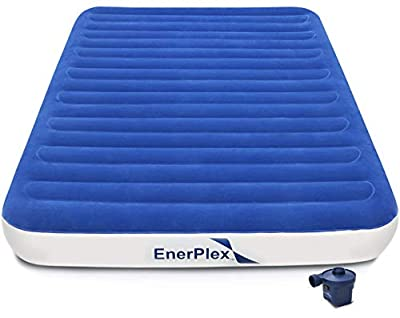 EnerPlex No Outlet Needed Luxury Series Queen Air Mattress with High Speed Wireless Pump Luxury Queen Size Airbed Inflatable Blow Up Bed for Home Camping Travel 2-Year Warranty
