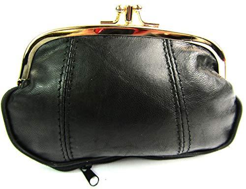 Damen-Geldbörse mit Clipverschluss, Top-Qualität, Luxuriöses weiches Leder, 4 Farben zur Auswahl, 1477 - Schwarz, Nicht verfügbar