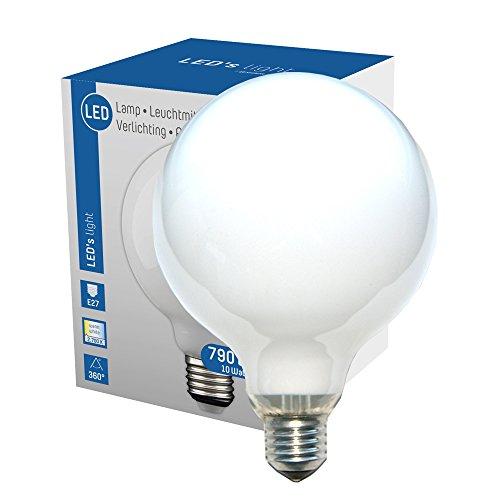 LED 360° Globe Glühbirne G120 10W = 60W E27 matt opal 790lm Glühlampe Sparlampe warmweiß 2700K (1)