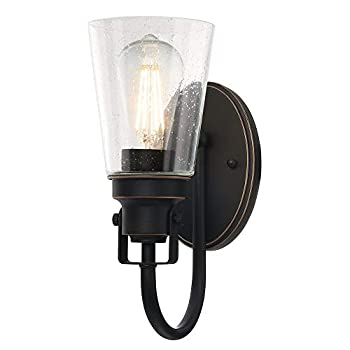 Westinghouse Lighting 6574500 Ashton One-Light Indoor Wall Fixture Oil Rubbed Bronze Finish with Highlights and Clear Seeded Glass