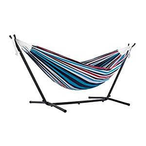 Vivere Double Hammock with Space-Saving Steel Stand - 204 kg Weight Capacity