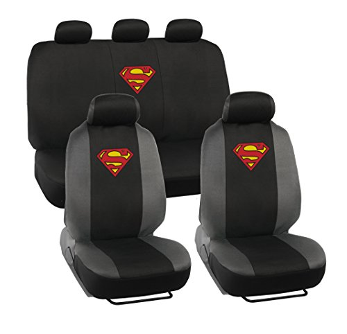 Superman Car Seat Covers - Full 9 Piece Set - Warner Brothers Polyester Seat Protectors Black & Gray