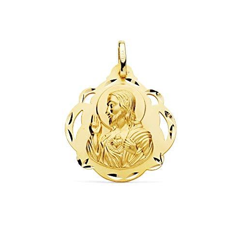 24mm Gold 18k Skapulier-Medaille. Herz Jesu Jungfrau der Carmen durchbrochene geschnitzt Form Tambourine