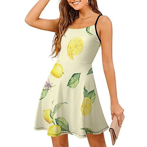 Vestido sin mangas para mujer, para playa, verano, frutas amarillas y limones ajustables, con tirantes, estilo swing blanco XL