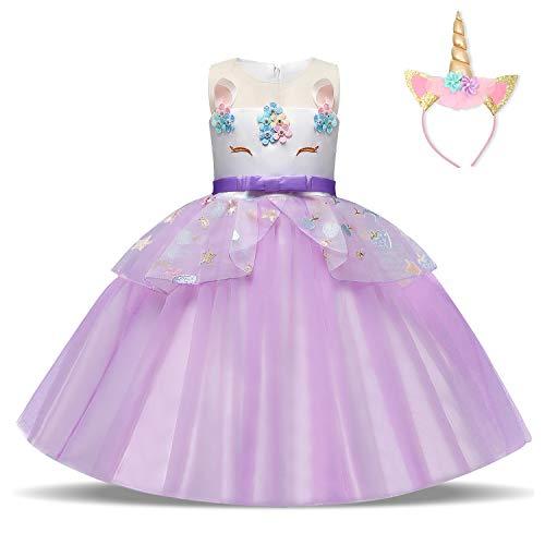 NNJXD Vestido de Unicornio para niñas Fiesta de Apliques de Flores Cosplay Disfraz de Halloween + Gorros Tamaño (140) 7-8 años 438 Púrpura-A