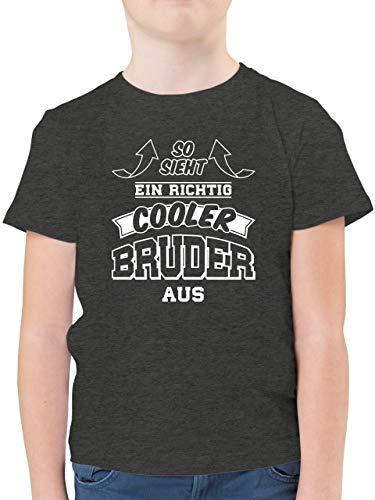 Geschwister Bruder - So Sieht EIN richtig Cooler Bruder aus - 152 (12/13 Jahre) - Anthrazit Meliert - Tshirts für Jungen 8-10 Jahre - F130K - Kinder Tshirts und T-Shirt für Jungen
