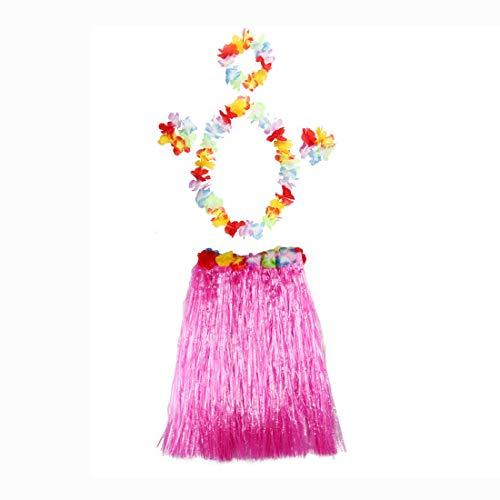 thematys Hawaii Kostüm Set in 8 4-teilig Rock, Blumenkranz für Kopf, Hals und Handgelenke - für Erwachsene (Style 3)