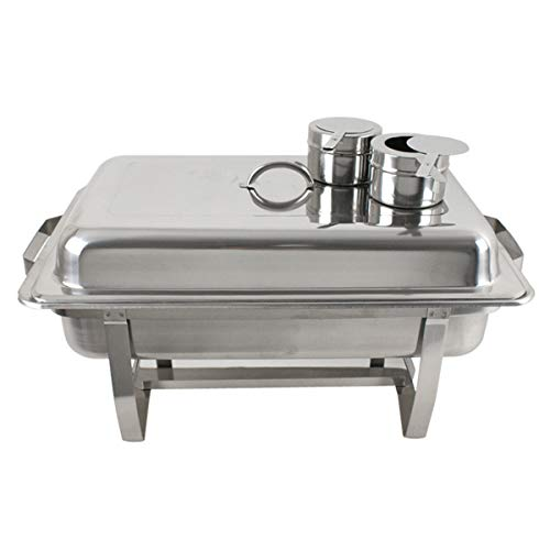 SUPER DEAL 8 Qt Stainless Steel 4 Pack Full Size Chafer Dish w/Water Pan, Food Pan, Fuel Holder and Lid For Buffet/Weddings/Parties/Banquets/Catering Events (4)