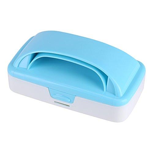 Cepillo de cama antiestático de doble rodillo con manija, removedor de pelo de mascotas Ropa Alfombra de pelusa de tela Cepillo de polvo de muda de polvo Limpiador de rodillo de pelusa(Azul)