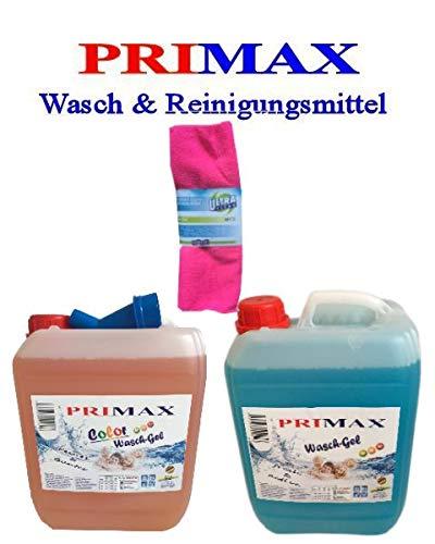 10 Ltr. Flüssigwaschmittel blau + 10 Ltr. Colorgel orange + Microfasertuch und Ausgießer Gel Konzentrat