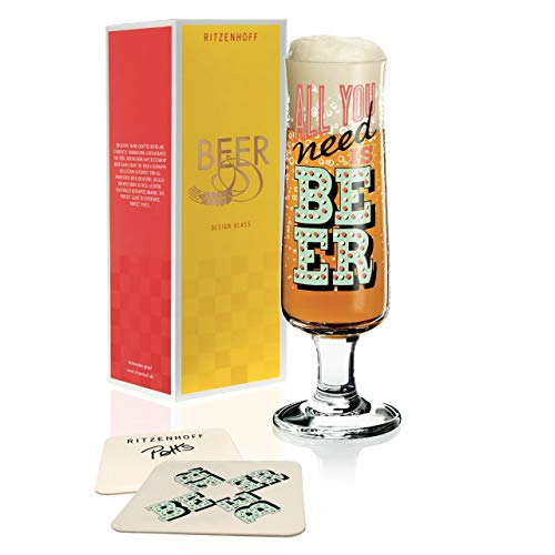 RITZENHOFF Beer Bierglas von Potts, aus Kristallglas, 300 ml, mit fünf Bierdeckeln