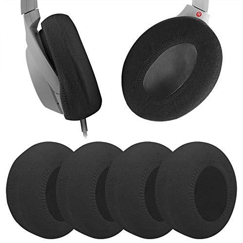 Geekria 2 pares de fundas lavables de tela de punto media/fundas para auriculares/almohadillas protector/almohadillas sanitarias elásticas, se adapta a auriculares de 3.1 a 4.3 pulgadas (negro)