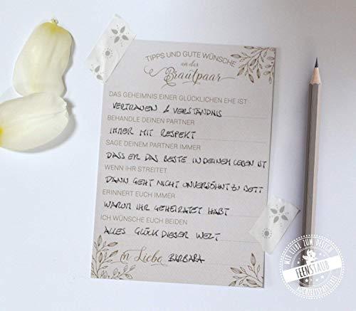 Gästebuch Hochzeit Alternative 30 Karten mit Fragen an Hochzeitsgäste zum Ausfüllen & einkleben