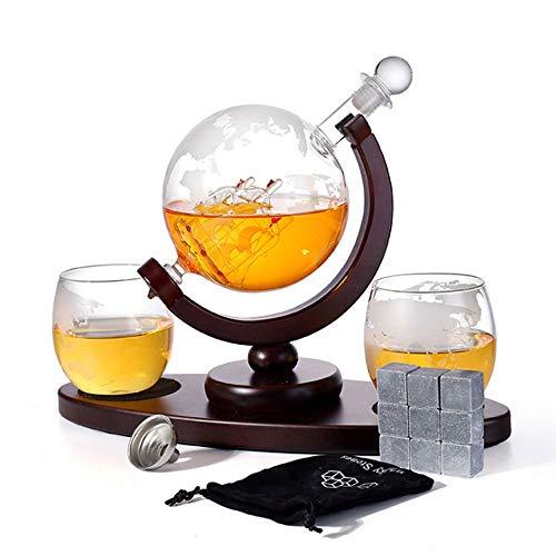 Whisky Decanter Globe Set, Cubos De Hielo De Acero Reutilizables, Embudo, 2 Gafas De Whisky De Globo Grabado, Usado Para Licor, Escocés, Bourbon, Vodka 850ml (Color : Transparent cover)