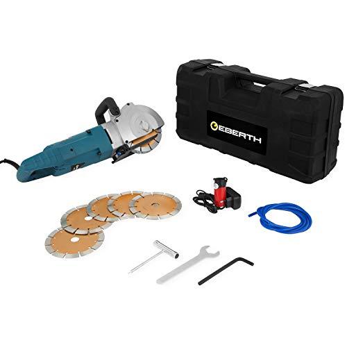 EBERTH HB1-EL2500 Scanalatrice da muro (Motore elettrico da 2500 watt, 6x Disco di taglio 150 mm, Profondità di taglio 45 mm, Pompa dell'acqua, Custodia e accessori inclusi)