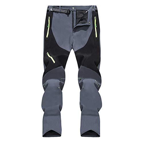 SUKUTU Pantalones de Senderismo Softshell para Exteriores para Hombres Pantalones de Lana Gruesa Calientes Impermeables A Prueba de Viento Deportes de esquí de Nieve