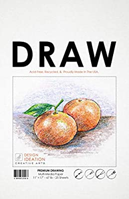 Premium Multi-Media Drawing Paper for Pencil, Ink, Marker and Charcoal. Great for Art, Design and Education. Loose Sheet Packs.