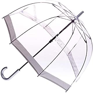 CLIFTON UMBRELLAS Silver Trim Clear PVC Birdcage Windproof Umbrella, Silver, One Size
