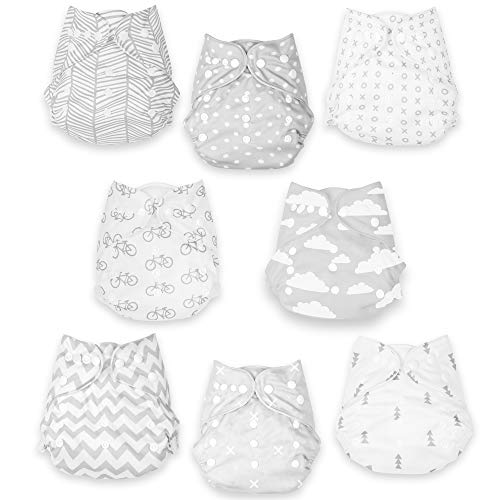 Grey Clouds Cloth Diapers (Updated Quality) – 8 Reusable Cloth Diapers for Babies with 8 Cloth Diaper Inserts – Extra Leg Lining for Boys