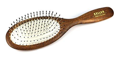 Haarbürste aus heimischem Holz mit Stahlstifte + Noppen in Airlastic-Spezialkissen (kein Zurückgehen der Stahlstifte durch Spezialkissen), Pflege für Haare, Auskammbürste für Naturhaar,Gr. 230x63 mm