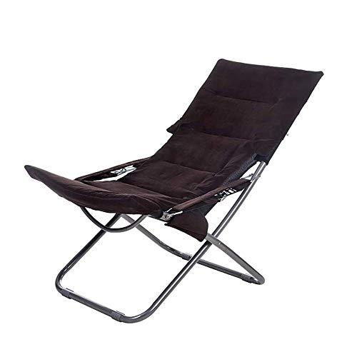 KOIUJ Salón chairFoldable Tumbona, Solarium, Ajustable del Respaldo, Plegable, Capacidad de Carga de 200 kg, utilizados en jardín (Color : Brown)