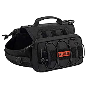 OneTigris Backpack for Dogs to Wear Pet Back Pack with Padded Handle and Leash Attachment Point for Dog with 17″-23.5″ Neck Girth and 25″-31″ Chest (Black)