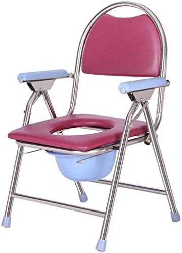 GBX Beweglich Faltbare Durablefolding Potty Wc Stuhl, Mobil Commode, Wc, Dusche Toilettenstuhl, Mit Abnehmbarem, Gepolstertem Sitz Und Potty,Rosa-B
