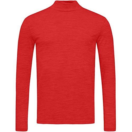 super.natural Base Turtle Neck 175 Sweatshirt, High Risk Red, Small Mens