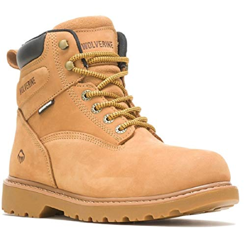 Mens WOLVERINE Floorhand 6 Inch Waterproof Leather Safety Steel Toe Cap Work Boots Shoes (10 UK, numeric_10)