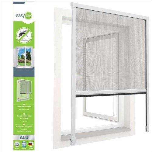 Insektenschutz ALU Rollo für Fenster 100 x 160 cm zum klemmen Weiss