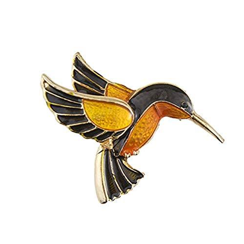 AILUOR de las Mujeres del Tono Antiguo del Oro del colibrí de Cristal Broche de Orange joyería Ajustable