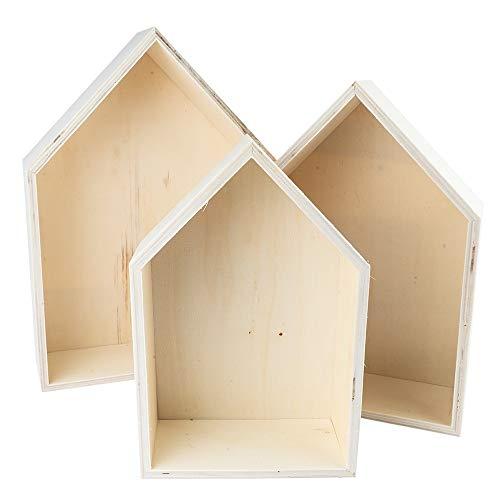 Ideen mit Herz Holzrahmen-Set Haus | 3 Stück | Holzbox in Hausform | Wandregal | Regal | Wanddekoration | zum Basteln und Bemalen | 3 verschiedene Größen | Höhen: 27,3cm, 23,7cm & 20,5cm