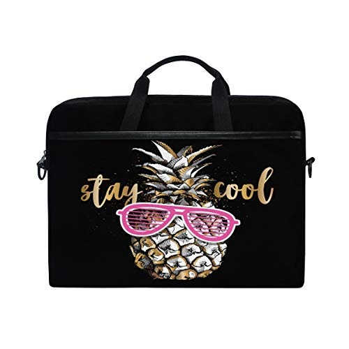 HaJie Laptop Bag Cool Pineapple Tropical Fruit Quote Computer Case 14-14.5 in Protective Bag Travel Briefcase with Shoulder Strap for Men Women Boy Girls