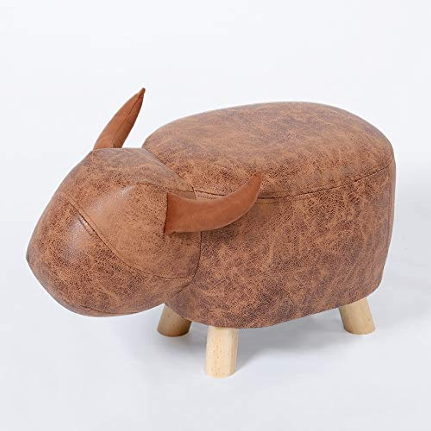 DQMSB Small Stool Home Cartoon Stool Change shoes Bench Small Bench Sofa Stool Solid Wood Stool Creative Fabric Stool (color   Brown)