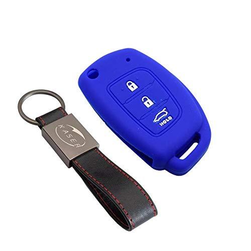 kaser Funda Silicona para Kia Hyundai – Carcasa Llaveros 3 Botones para Coche i30 ix20 ix35 Tucson Santafe Cover Case Protección Remoto Mando Auto (Azul)