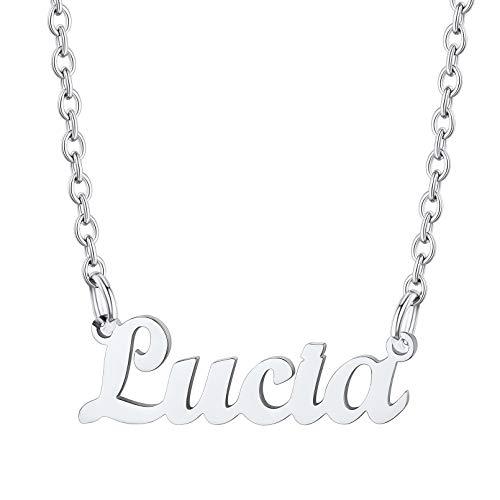 Lucia Collar Moderno Acero Inoxidable Plateado Colgante de Nombres Personalizados Cadena Ajustable Rolo Joyería de Moda para Mujeres