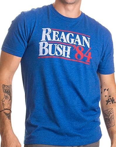 Reagan Bush '84 | Vintage Style Conservative Republican GOP Unisex T-Shirt-Adult,L Heather Royal Blue