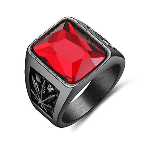 Anillos de nudillo anillos de dedo, vintage hombres de imitación de piedras preciosas de tungsteno arce anhelados anillo de la banda de dedo regalo de joyería - negro rojo US 11