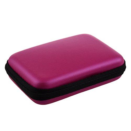 bobotron Disco duro portátil a prueba de golpes, cierre de cremallera, funda, caja para disco duro de 2,5 pulgadas, color rosa