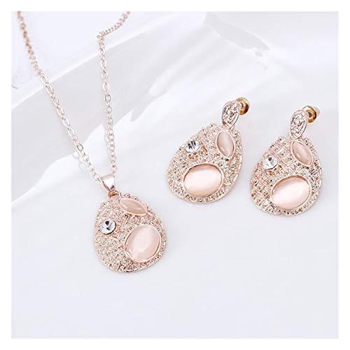 Without logo SFQRYP Moda Elliptical COLLA DE Diamante Anillo EARJE DE Dos Piezas DE JOYERO Conjunto Collar (Color : Golden)