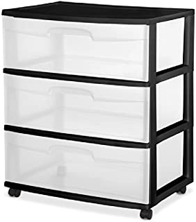 Sterilite 29309001 Wide 3 Drawer Cart, Black Frame with Clear Drawers and Black Casters, 2-Pack