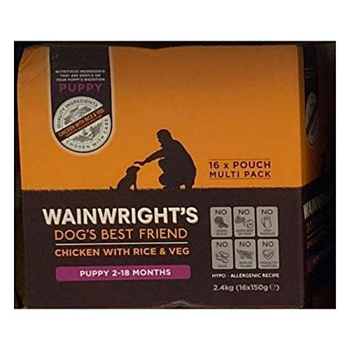 Wainwright's Complete Wet Puppy Food Chicken With Rice And Veg 16x150g - Nutritious, Delicious, Easily Digested And Hypo-Allergenic Suitable For 2-18 Months Old Puppies