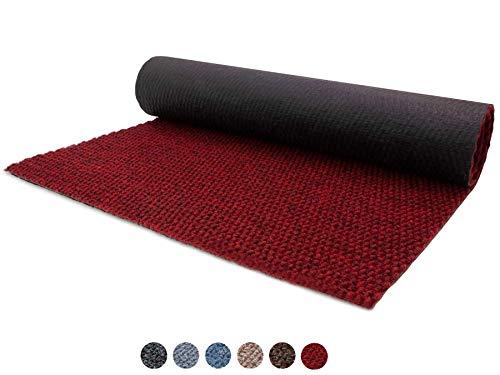Schmutzfang-Läufer Sauberlauf Meterware PICOLLO Rot 100 x 250 cm - Rutschfester Teppichläufer Schmutzfangmatte, Sauberlaufteppich, Schmutzfangteppich, Küchenläufer, Küchenvorleger