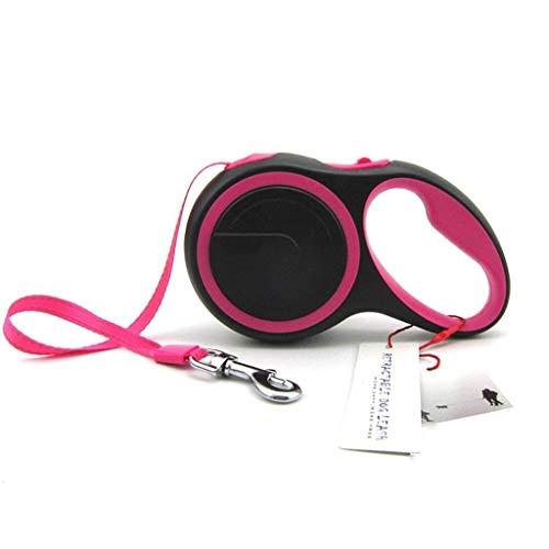 WYBD.Y Hochleistungs Einziehbare Hundeleine mit Anti-Rutsch-Griff;16 ft Starkes Nylonband / -Band;Einhandbremse, Pause, Sperre (Farbe: Rot)
